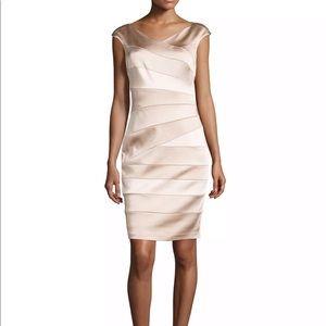 Jax Beige Asymmetrical Seamed Cap-sleeve Dress